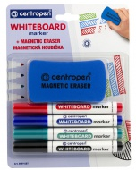 CENTROPEN WHITEBOARD marker 8559 4ks + Houbička